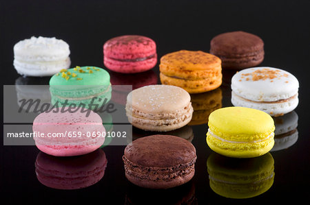 Ten colourful macaroons Stock Photo - Premium Royalty-Free, Image code: 659-06901002