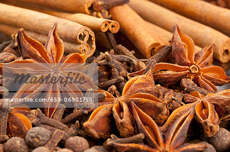 Winter spices (cloves, allspice, star anise, cinnamon) Stock Photo - Premium Royalty-Free, Image code: 659-06901755