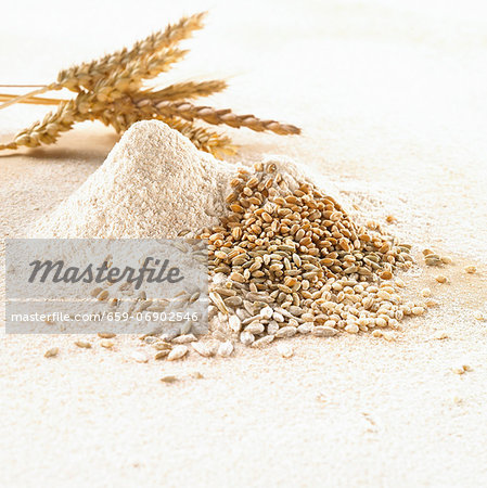 Grains of wheat, ears of wheat and wheat flour Stock Photo - Premium Royalty-Free, Image code: 659-06902546
