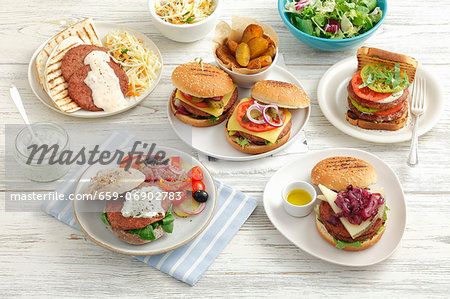 Assorted burgers Stock Photo - Premium Royalty-Free, Image code: 659-06902783