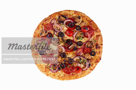 Whole Loaded Pizza on a White Background; From Above Stock Photo - Premium Royalty-Free, Image code: 659-06902897