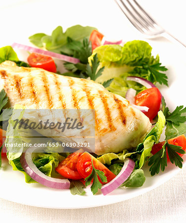 Grilled chicken breast with salad Stock Photo - Premium Royalty-Free, Image code: 659-06903291