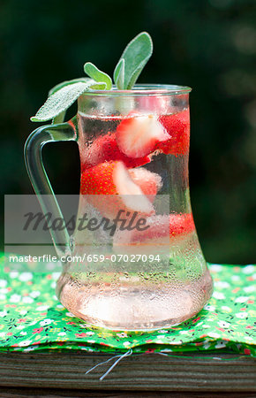 Cold Summer Strawberry Drink with Fresh Sage Stock Photo - Premium Royalty-Free, Image code: 659-07027094