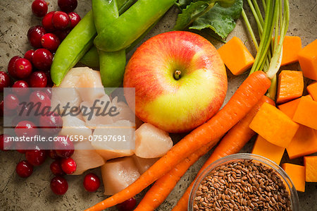 Assorted Ingredients; Fruit, Vegetables, Chicken and Grains Stock Photo - Premium Royalty-Free, Image code: 659-07597691