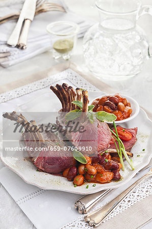 Lamb chops with assorted beans in tomato sauce Stock Photo - Premium Royalty-Free, Image code: 659-07609910