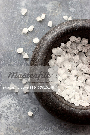 Sea salt crystals in a mortar Stock Photo - Premium Royalty-Free, Image code: 659-07610185