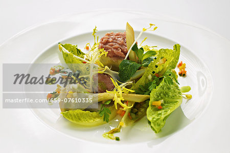 Stuffed artichokes with veal tartar and cos lettuce Stock Photo - Premium Royalty-Free, Image code: 659-07610335