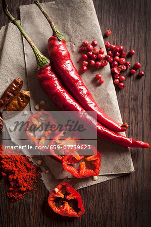 Chillis: peppers, dried, powder and peppercorns Stock Photo - Premium Royalty-Free, Image code: 659-07739623