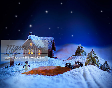 A winter landscape made from sugar with a gingerbread house Stock Photo - Premium Royalty-Free, Image code: 659-08147598