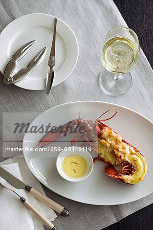 Gratinated lobster with saffron sauce Stock Photo - Premium Royalty-Free, Image code: 659-08148119