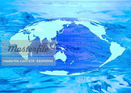 World map and water image Stock Photo - Premium Royalty-Free, Image code: 670-06449994
