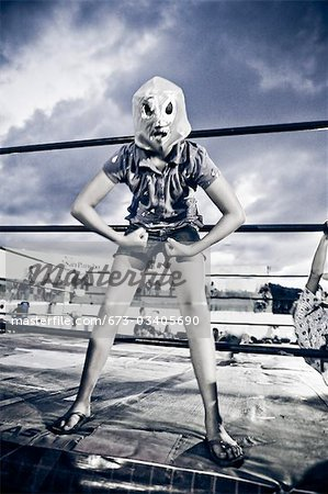 girl in wrestling costume Stock Photo - Premium Royalty-Free, Image code: 673-03405690