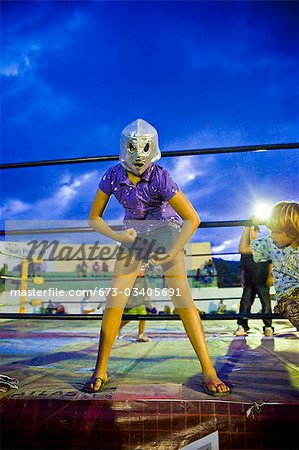 girl in wrestling costume Stock Photo - Premium Royalty-Free, Image code: 673-03405691