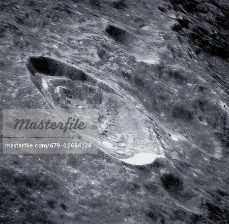 Crater Einthoven in the Hadley-Apennine region of the Moon. Photographed during the Apollo 15 mission of 1971 (26 July to 7 August).
