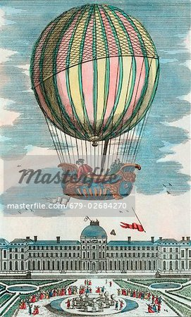 First manned hydrogen balloon flight. Jacques Alexandre Cesar Charles (1746-1823) and Marie-Noel Robert, French balloonists, making the first manned hydrogen balloon flight. They rode in the balloon 'La Charliere' on 1 December 1783, ascending above the Tuileries Gardens, Paris, France. Stock Photo - Premium Royalty-Free, Image code: 679-02684270