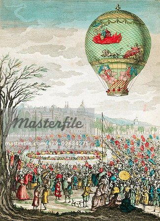 Early hot air balloon flight. This balloon, 'Le Flesselles', ascended over Lyon, France, on 1 January 1784, carrying seven passengers, which included the French balloonists Joseph Montgolfier (1740-1810) and Jean-Francois Pilatre de Rozier (1754-1785). Stock Photo - Premium Royalty-Free, Image code: 679-02684271