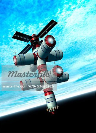 Space hotel, computer artwork. Stock Photo - Premium Royalty-Free, Image code: 679-03680925