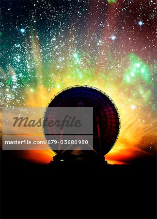 Radio telescope and night sky, computer artwork. Stock Photo - Premium Royalty-Free, Image code: 679-03680980