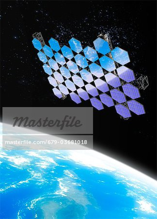 Mirror array. Computer artwork of an array of mirrors in Earth orbit. Stock Photo - Premium Royalty-Free, Image code: 679-03681018