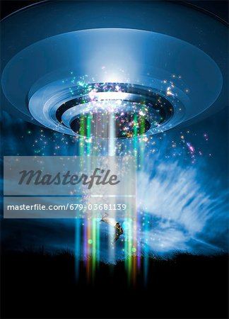 UFO human abduction, conceptual computer artwork. Stock Photo - Premium Royalty-Free, Image code: 679-03681139