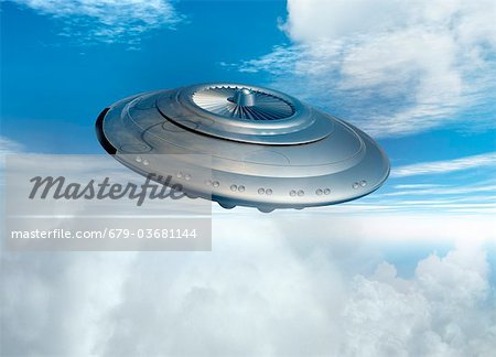 UFO, computer artwork. Stock Photo - Premium Royalty-Free, Image code: 679-03681144