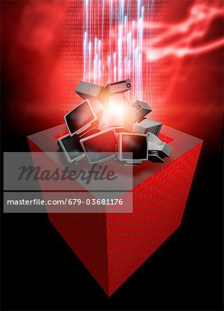 Firewall protection, conceptual computer artwork. Stock Photo - Premium Royalty-Free, Image code: 679-03681176