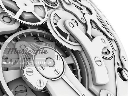 Wrist watch interior. 3D-computer artwork of cogs and gears in a mechanical wrist watch. Stock Photo - Premium Royalty-Free, Image code: 679-03681919