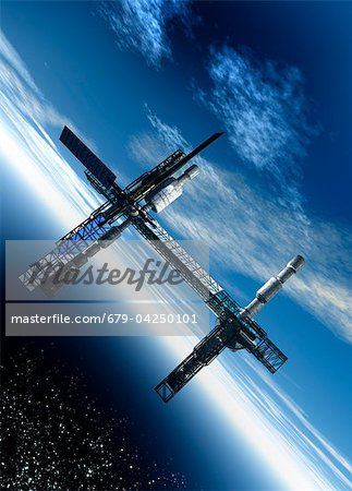 Space station, artwork Stock Photo - Premium Royalty-Free, Image code: 679-04250101