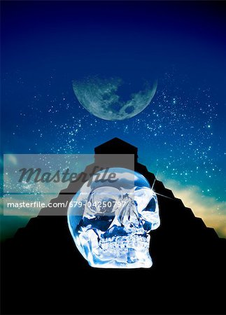 Crystal skull and Maya pyramid, artwork Stock Photo - Premium Royalty-Free, Image code: 679-04250797