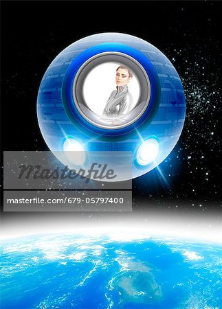 Space tourism, composite image Stock Photo - Premium Royalty-Free, Image code: 679-05797400