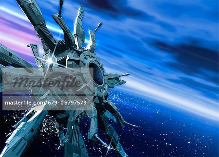 Space station orbiting Earth, artwork Stock Photo - Premium Royalty-Free, Image code: 679-05797579