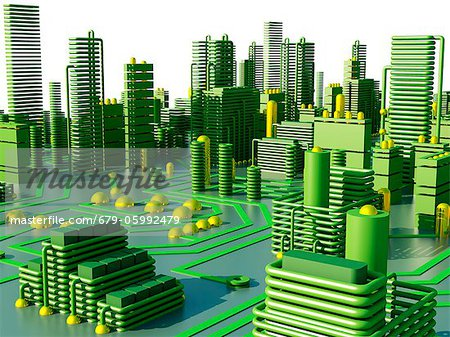 Computer artwork of a conceptual circuit cityscape made of electronic components. Stock Photo - Premium Royalty-Free, Image code: 679-05992479