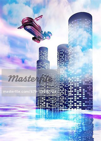 Future of travel. Conceptual computer artwork of a space ship leaving a station in the clouds. Stock Photo - Premium Royalty-Free, Image code: 679-05992728