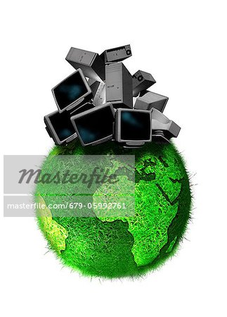Recycling obsolete technology, conceptual computer artwork. Stock Photo - Premium Royalty-Free, Image code: 679-05992761
