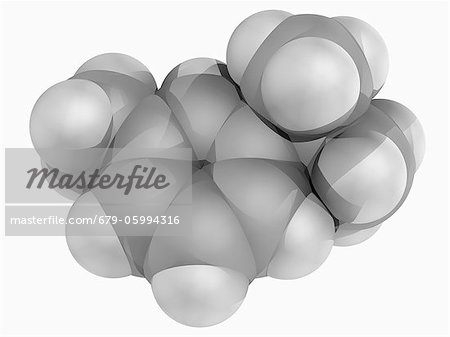 Cymene, molecular model. Aromatic organic compound, constituent of many essential oils. Atoms are represented as spheres and are colour-coded: carbon (grey) and hydrogen (white). Stock Photo - Premium Royalty-Free, Image code: 679-05994316