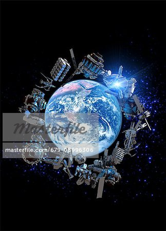 Space junk, computer artwork. Stock Photo - Premium Royalty-Free, Image code: 679-05996306