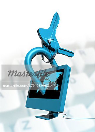 Computer security, conceptual computer artwork. Stock Photo - Premium Royalty-Free, Image code: 679-05996314