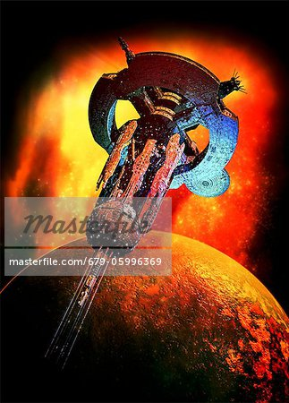 Alien spaceship, computer artwork. Stock Photo - Premium Royalty-Free, Image code: 679-05996369