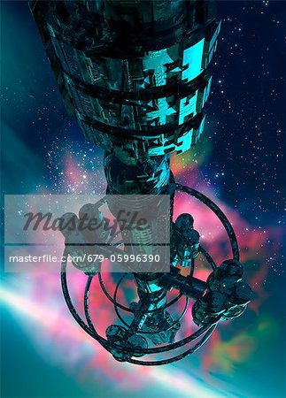 Alien spaceship, computer artwork. Stock Photo - Premium Royalty-Free, Image code: 679-05996390