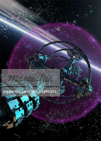 Alien spaceship, computer artwork. Stock Photo - Premium Royalty-Free, Image code: 679-05996391
