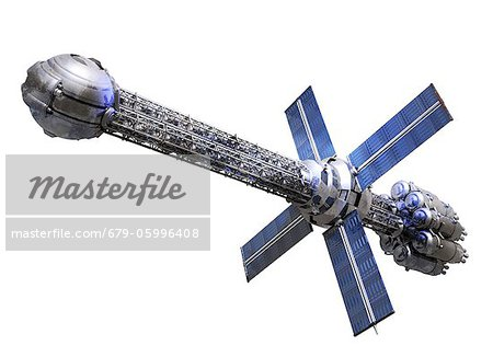 Futuristic spaceship powered by a photo drive, computer artwork. Stock Photo - Premium Royalty-Free, Image code: 679-05996408