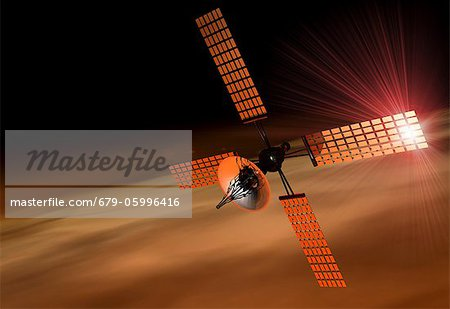 Satellite orbiting Mars, computer artwork. Stock Photo - Premium Royalty-Free, Image code: 679-05996416