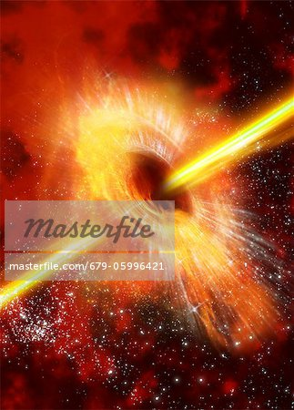 Supermassive black hole, computer artwork. Stock Photo - Premium Royalty-Free, Image code: 679-05996421