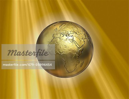 Golden Earth, computer artwork. Stock Photo - Premium Royalty-Free, Image code: 679-05996454