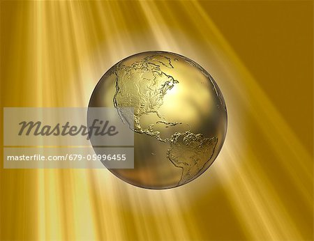 Golden Earth, computer artwork. Stock Photo - Premium Royalty-Free, Image code: 679-05996455