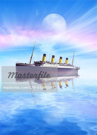 Titanic. Computer artwork of RMS Titanic at sea. The Titanic was the largest ocean liner ever built at the time, and was reputed to be unsinkable. However, during its maiden voyage it struck an iceberg in the North Atlantic on the night of 14 April 1912 and sank with the loss of 1517 lives. Stock Photo - Premium Royalty-Free, Image code: 679-05996597