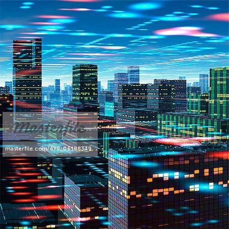 Futuristic city, conceptual computer artwork. Stock Photo - Premium Royalty-Free, Image code: 679-06198349