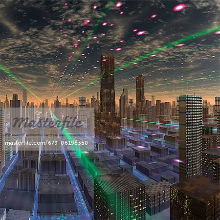 Futuristic city, conceptual computer artwork. Stock Photo - Premium Royalty-Free, Image code: 679-06198350