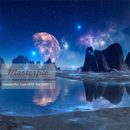 Alien planet, computer artwork. Stock Photo - Premium Royalty-Free, Image code: 679-06198371