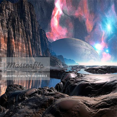 Alien planet, computer artwork. Stock Photo - Premium Royalty-Free, Image code: 679-06198403